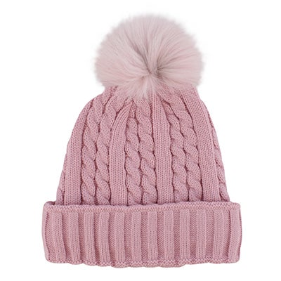 Lds pink w/fur pom cable stitch hat