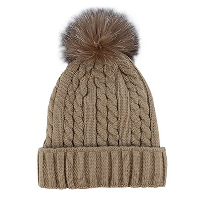 Lds taupe w/fur pom cable stitch hat