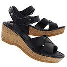 Lds Eva Farris black wedge sandal