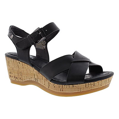 Lds Eva Farris black wedge sandal