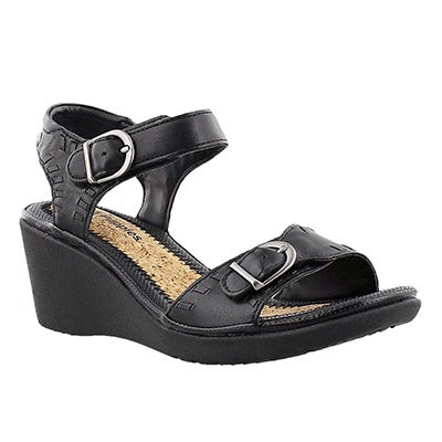 Hush Puppies Women's NOELLE RUSSO black wedge sandals