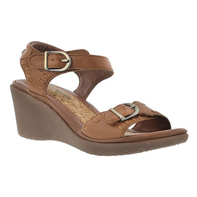 Hush Puppies Women's NOELLE RUSSO tan wedge sandals