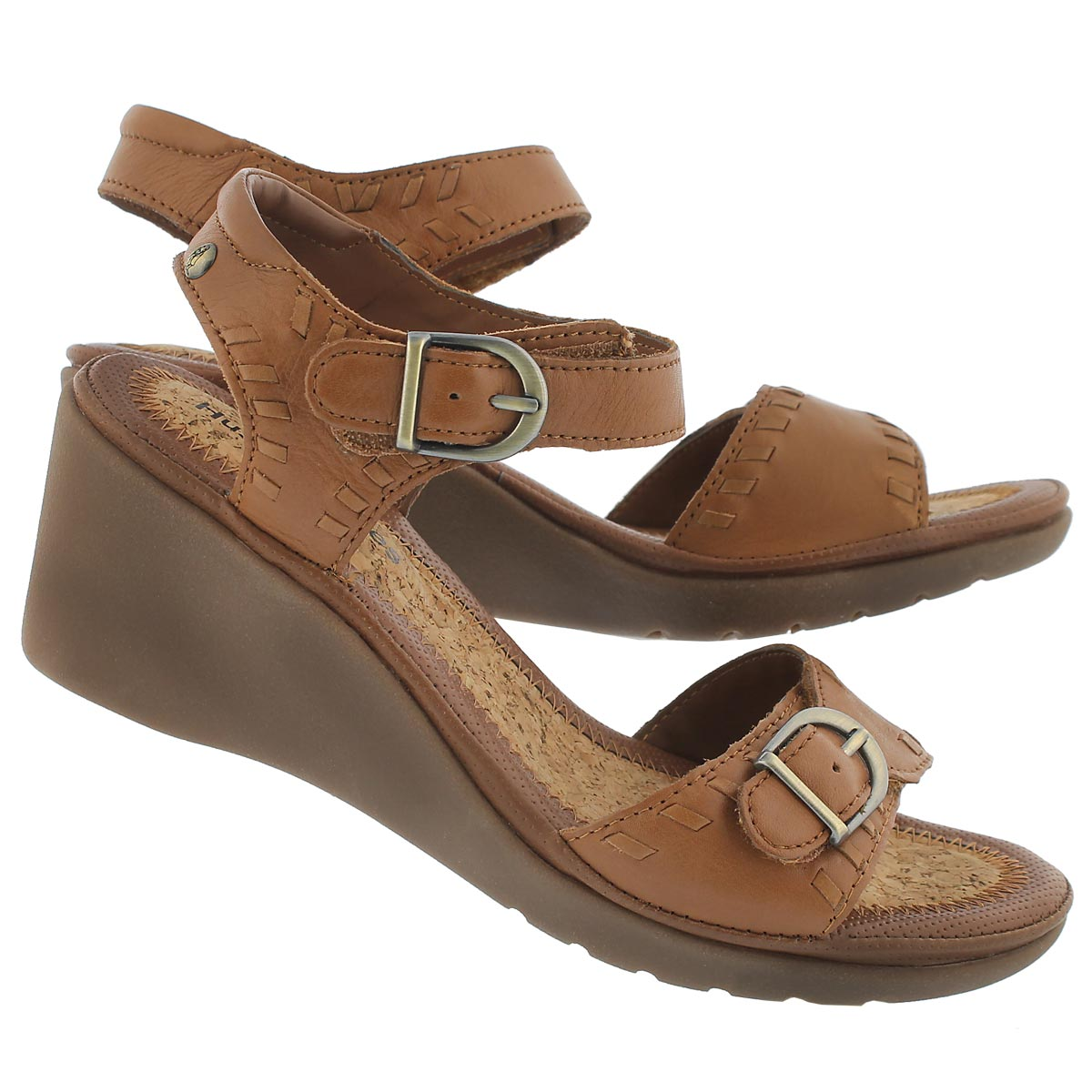Lds Noelle Russo tan wedge sandal