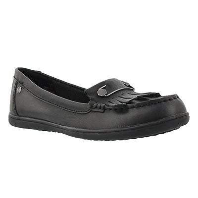 Lds Rylie Claudine blk leather moccasin