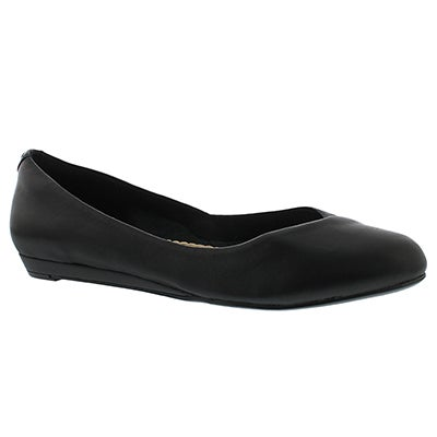 Hush Puppies Women's LUMI BALLENTINE black leather dress flats