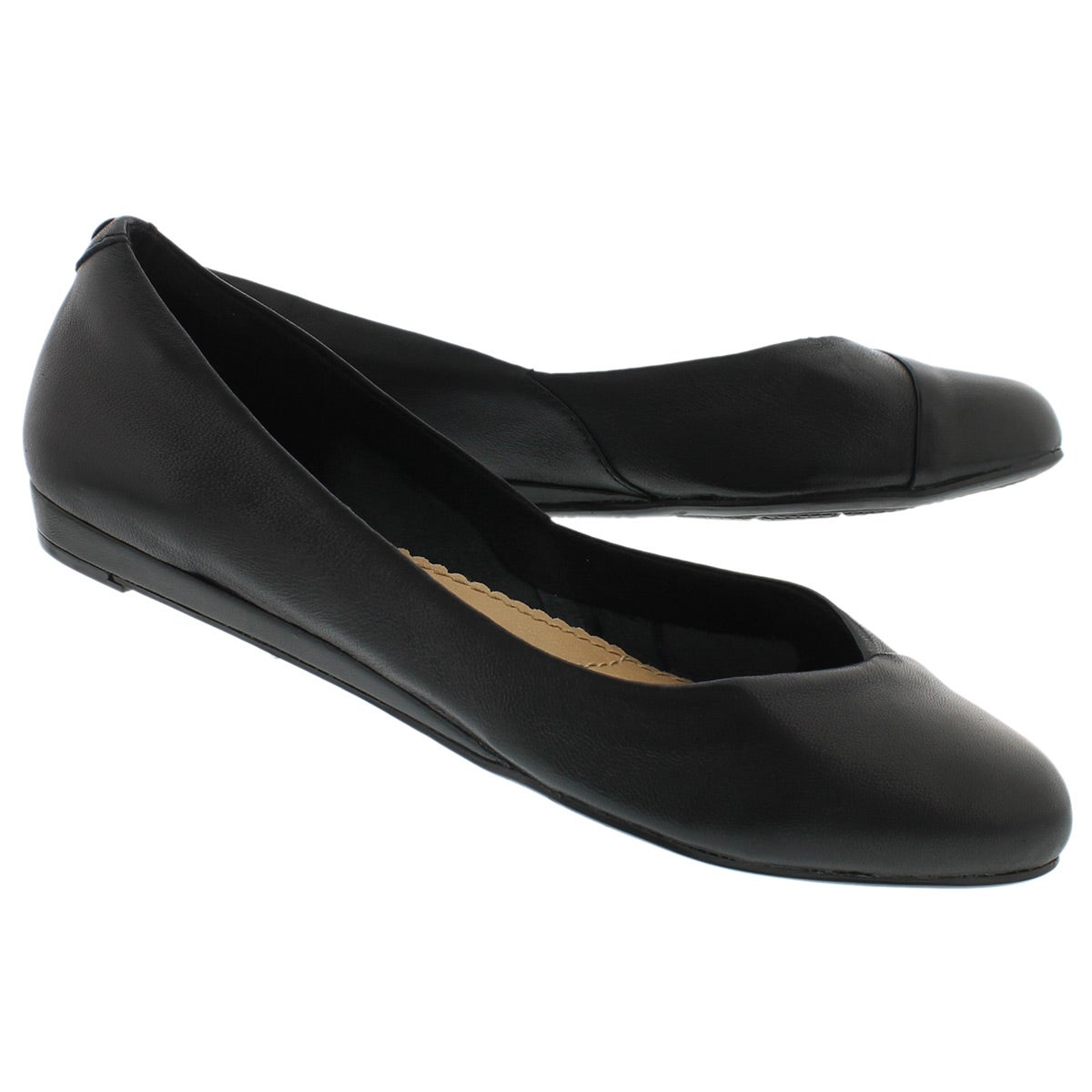 Lds Lumi Ballentine blk lthr dress flat