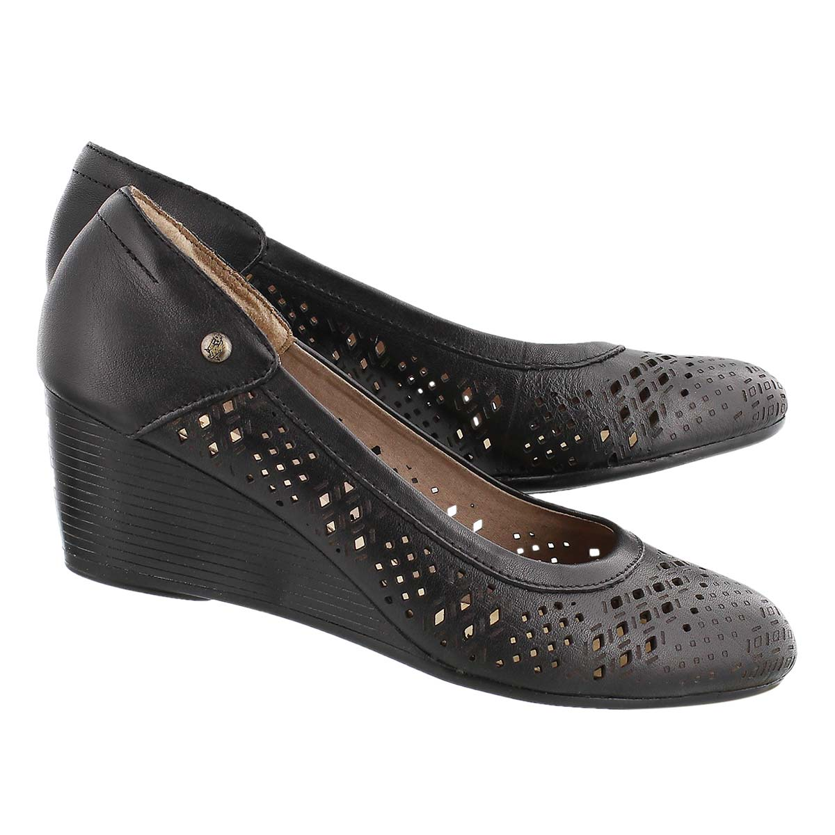 Lds Mindon Rhea black perforated wedge