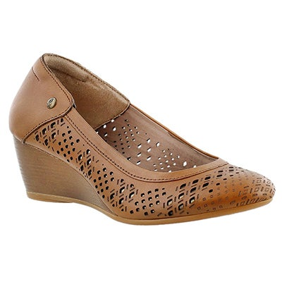 Hush Puppies Women's MINDON RHEA tan perforated wedges