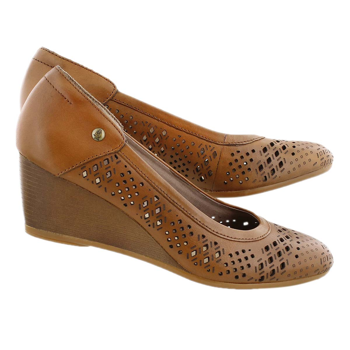 Lds Mindon Rhea tan perforated wedge