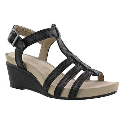 Lds Enora Cassale black wedge sandal