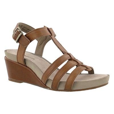 Lds Enora Cassale tan wedge sandal