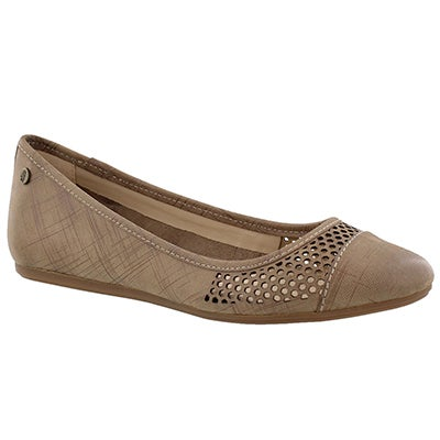 Lds Liza Heather taupe casual flat