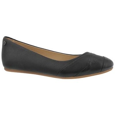 Lds Heidi Heather black leather flat