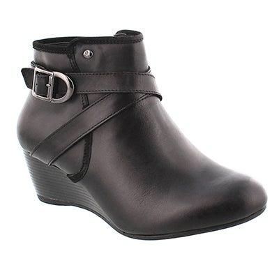 Lds Korina Rhea blk wtpf wedge bootie