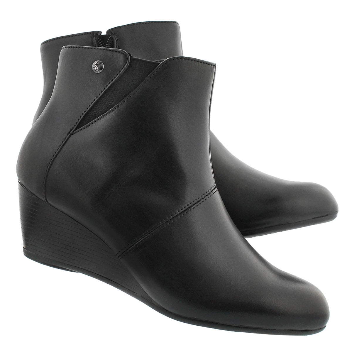 Lds Poised Rhea black WP wedge bootie
