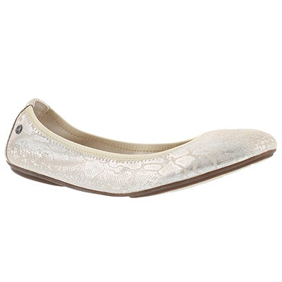 Hush Puppies Women's CHASTE BALLET birch met snake flats