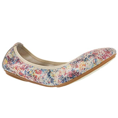 Hush Puppies Women's CHASTE BALLET white/multi leather flats