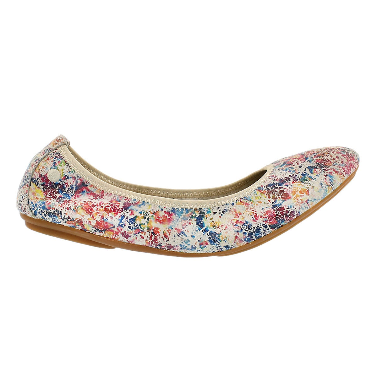 Lds Chaste Ballet wht/multi leather flat