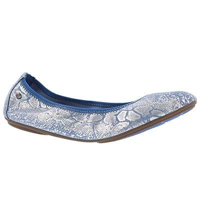 Lds Chaste Ballet blue met snake flat