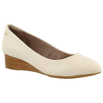Lds Dot Admire off wht wedge dress shoe