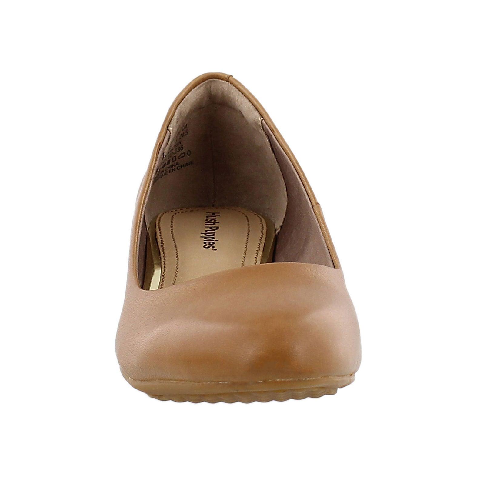 Lds Dot Admire tan wedge dress shoe