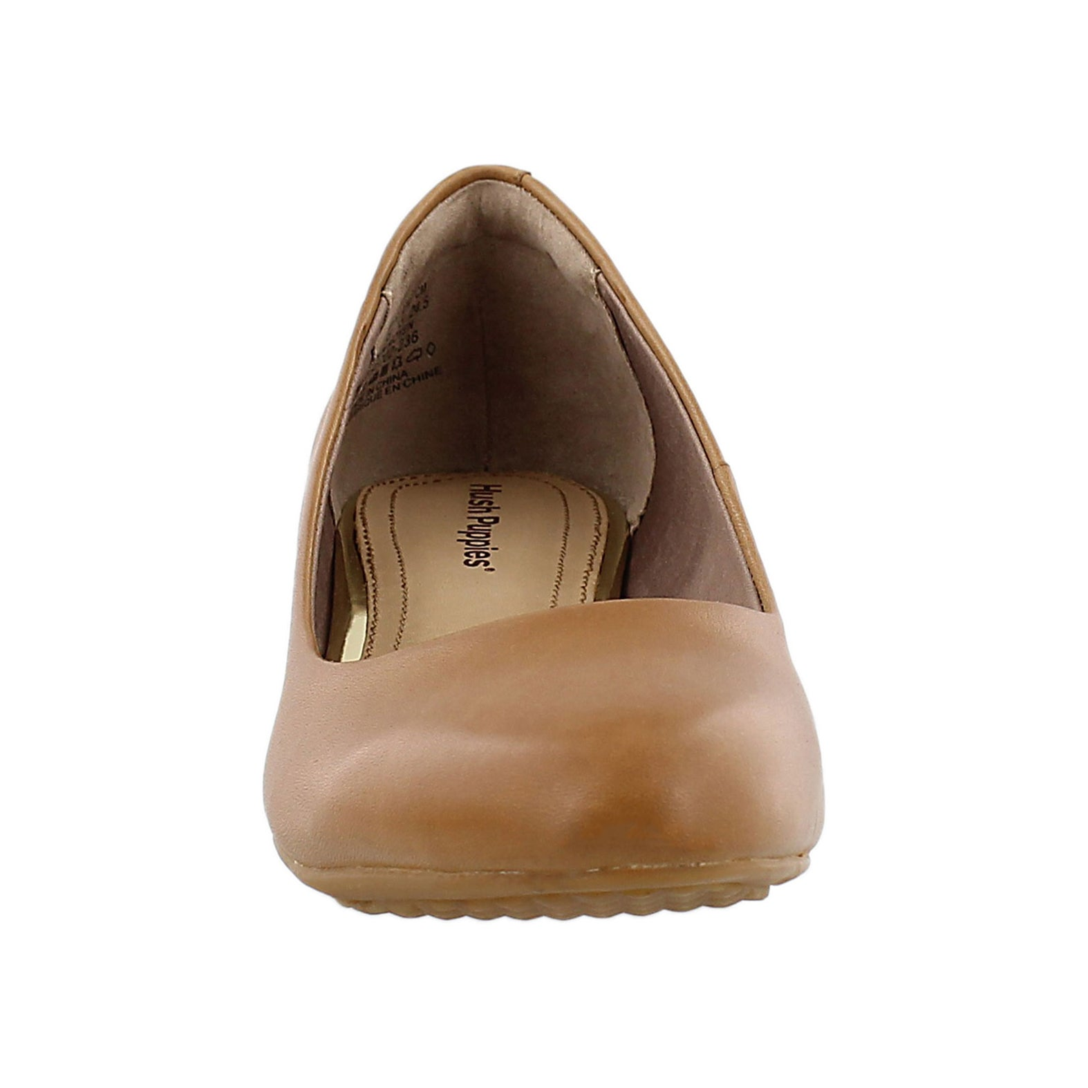 Lds Dot Admire tan wedge dress shoe