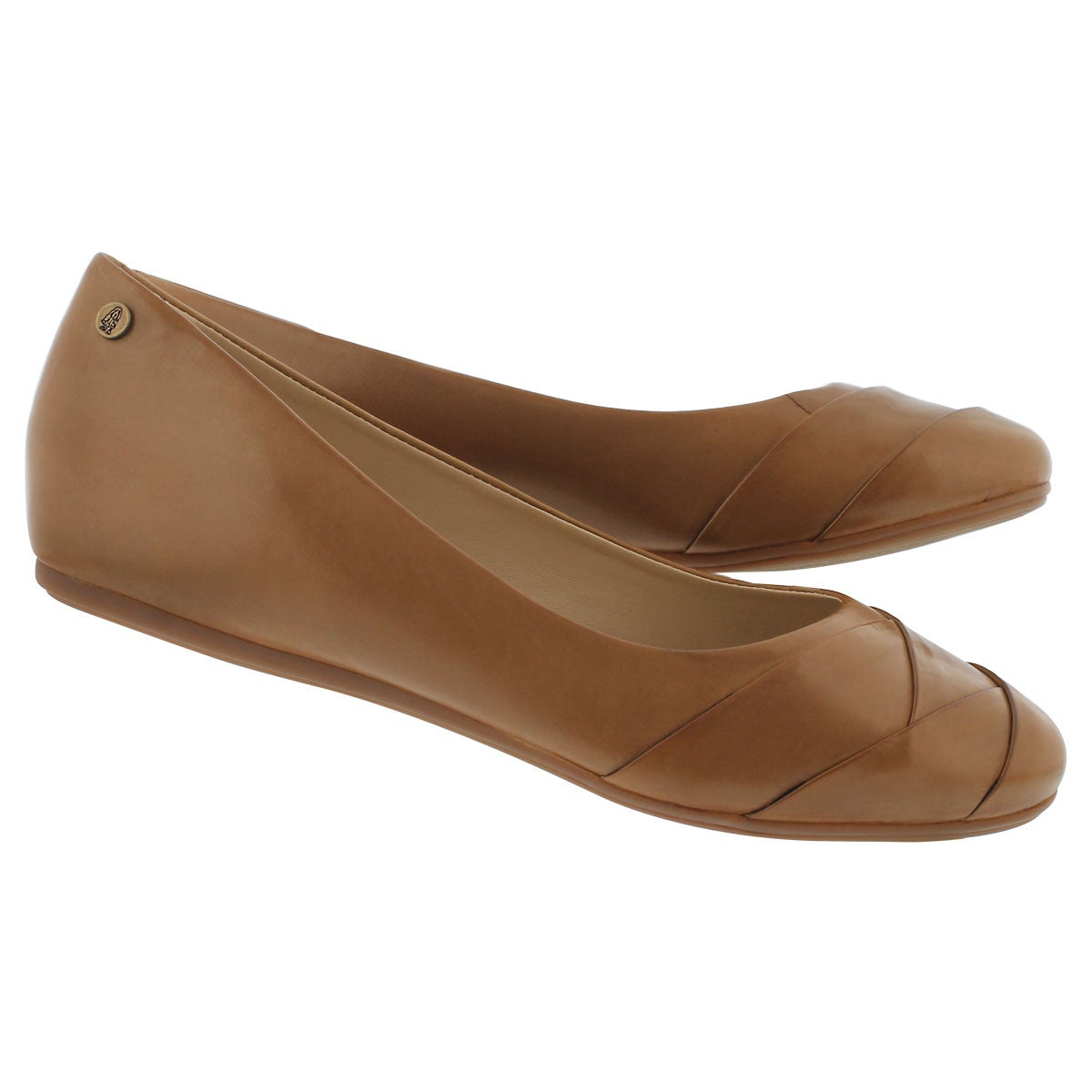 Lds Heidi Heather cognac leather flat