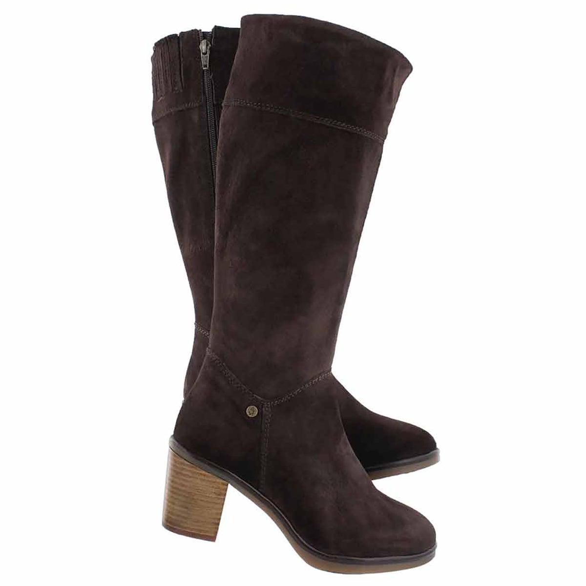 Lds Saun Olivya dk brn high dress boot