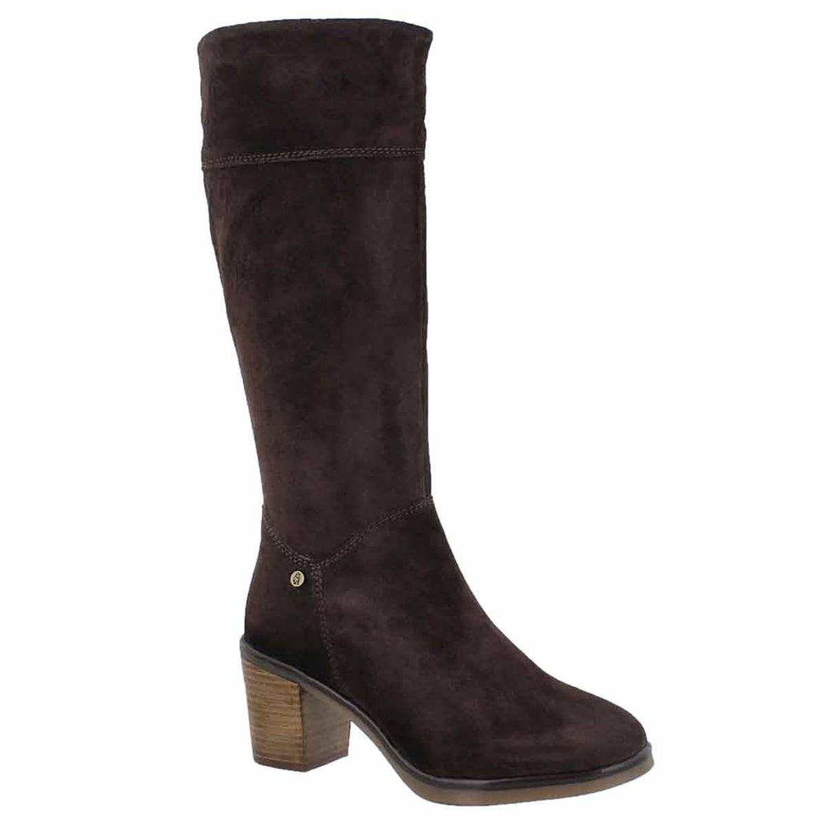 Women's SAUN OLIVYA dark brown high dress boots