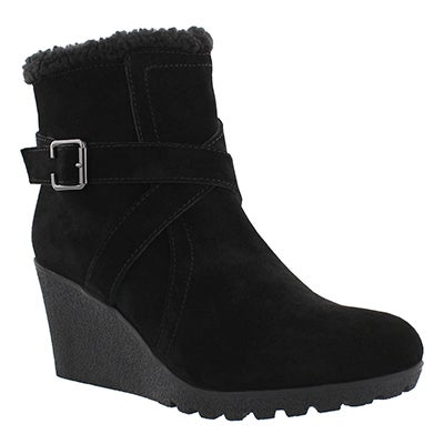 Hush Puppies Women's AMBER MILES IIV blk waterproof wdg booties