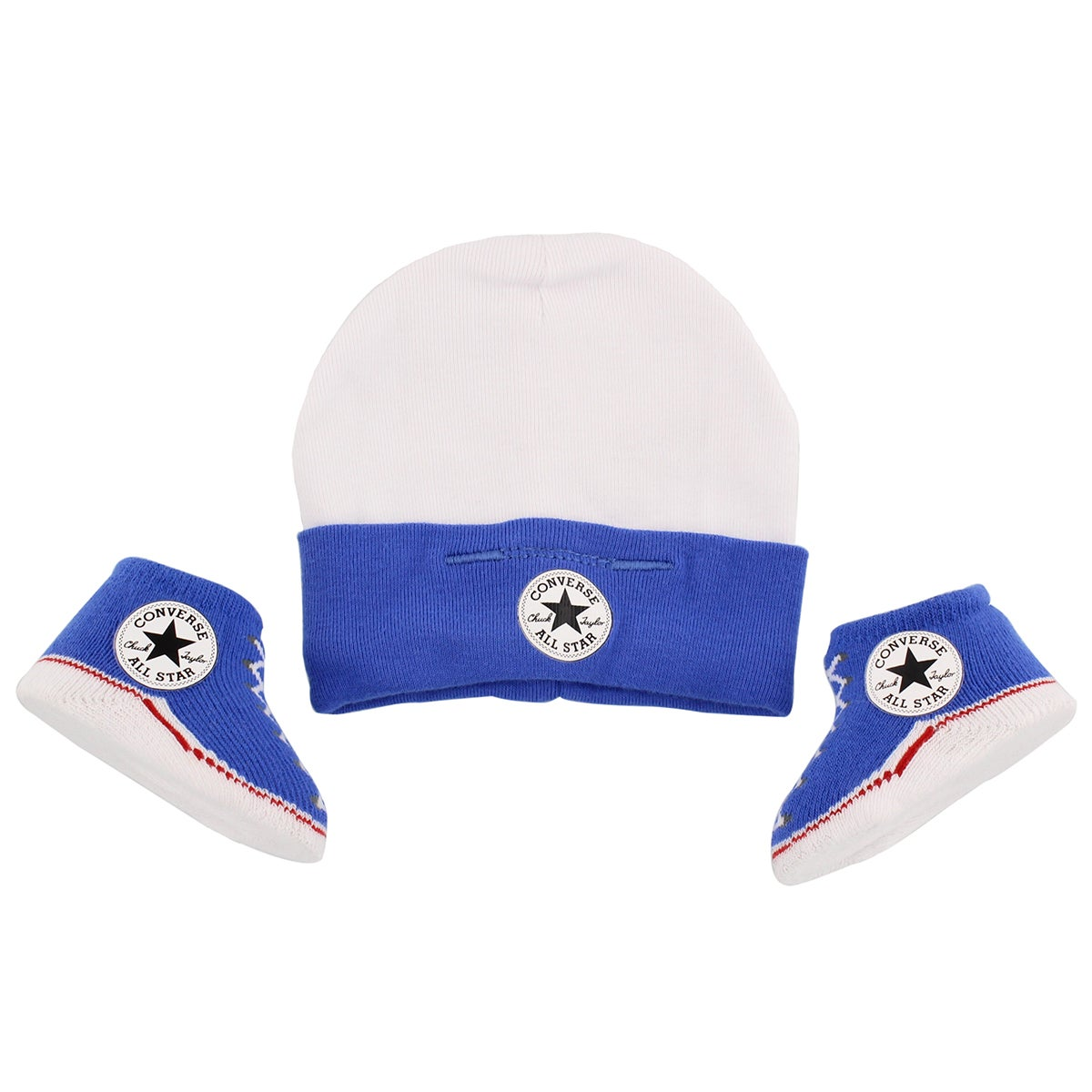 Infants' CONVERSE blue hat & bootie combo