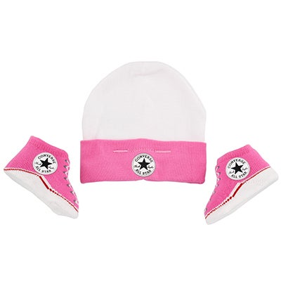 Converse Infants' CONVERSE pink hat & bootie combo boots
