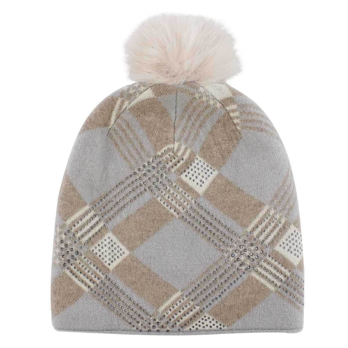 Women's PLAID w/fur pom beige/grey hats