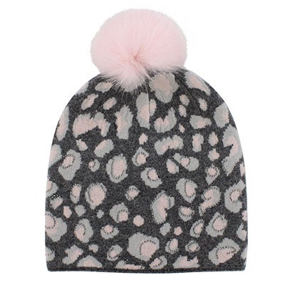 Lds animal prnt w/ fur pom pnk/gry hat