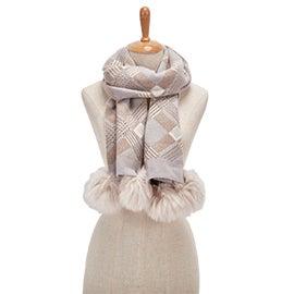 Lds plaid w/ fur pom beige/grey scarf