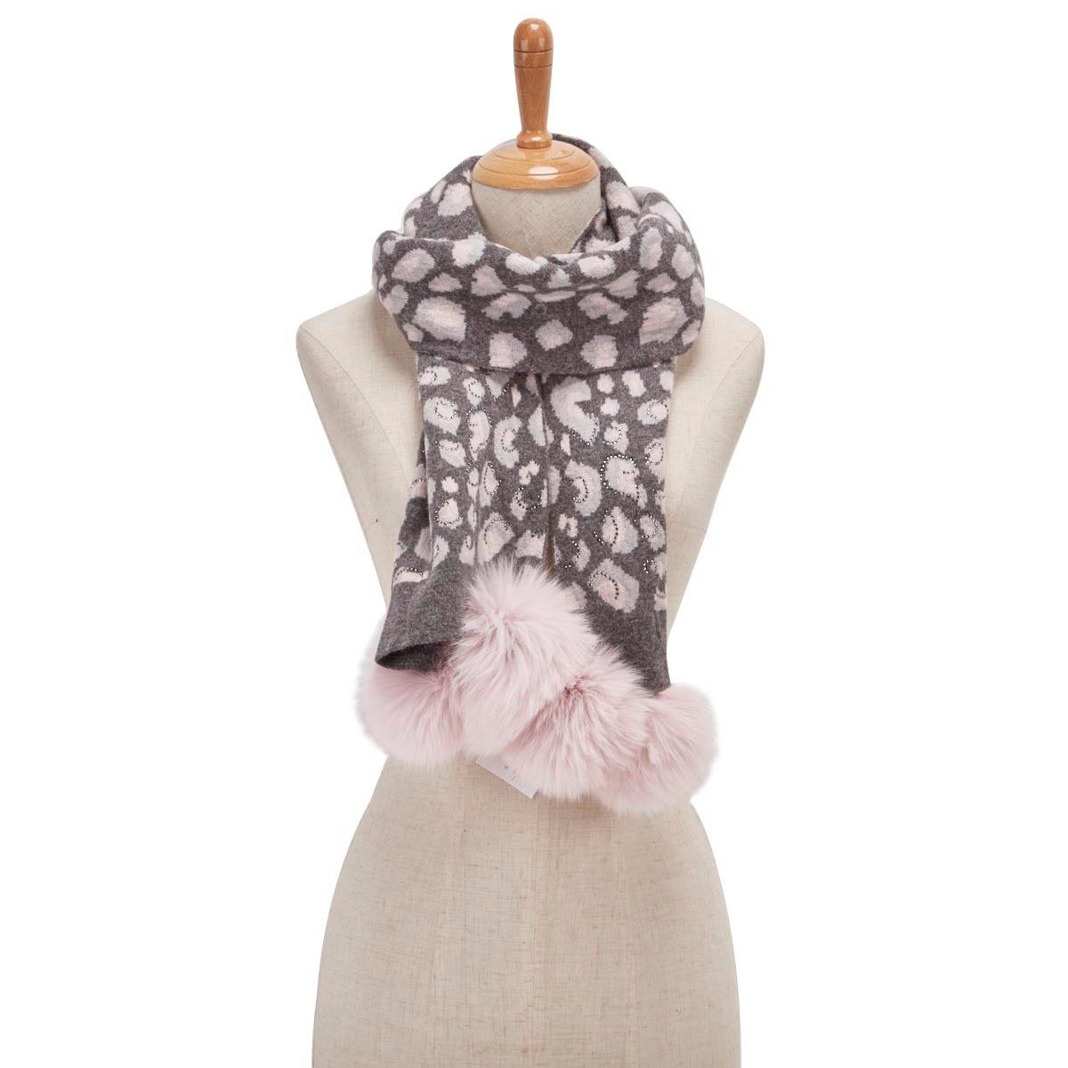 Lds animal prnt w/ fur pom pnk/gry scarf