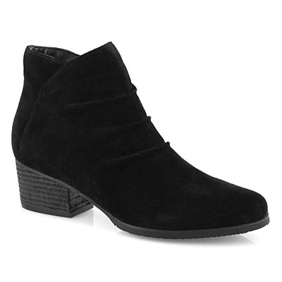Lds Indira blk suede wtpf ankle boot