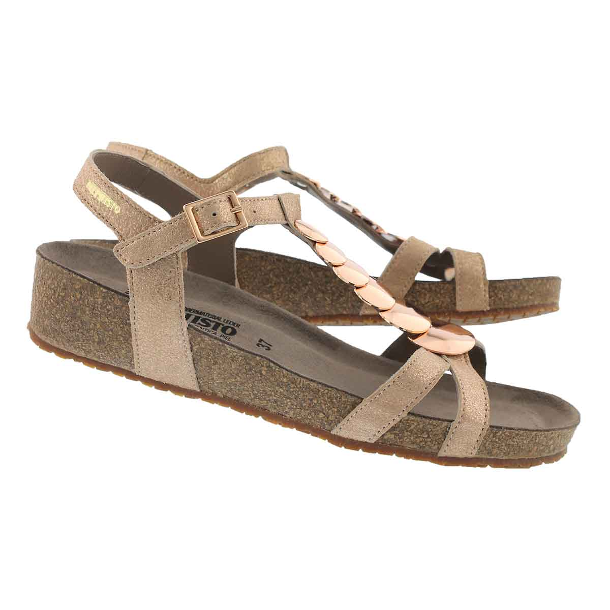 Lds Irma taupe wedge cork footbed sandal