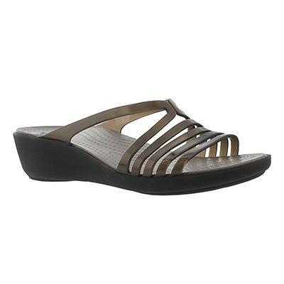 Lds Isabella Mini Wedge blk slide sandal