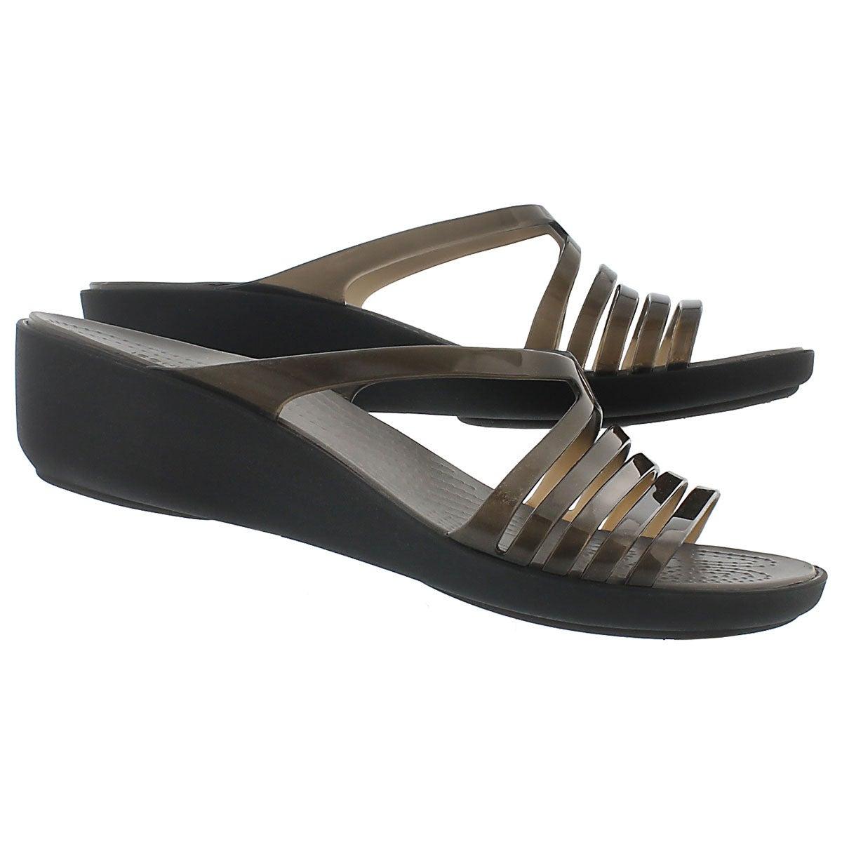 Lds Isabella Mini Wedge blk slide sandal