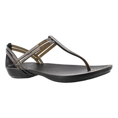 Crocs Women's ISABELLA T-STRAP black thong sandals