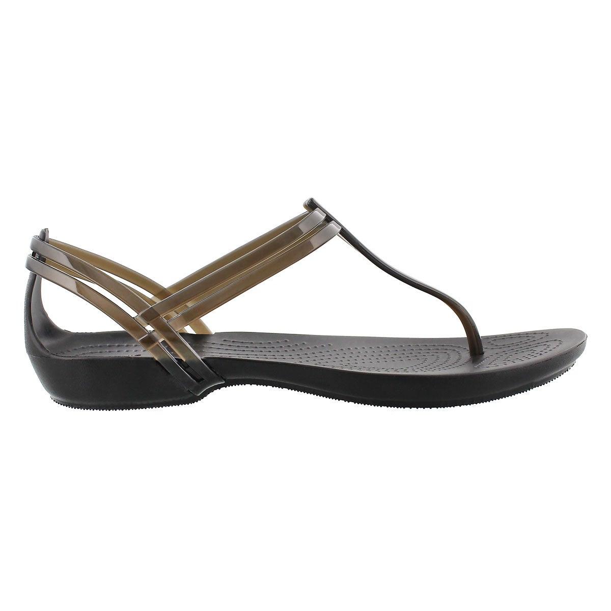Lds Isabella T-Strap black thong sandal