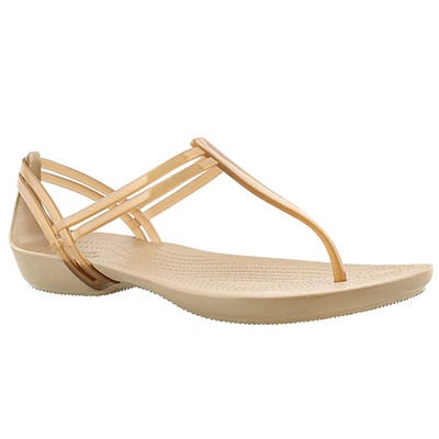 Crocs Women's ISABELLA T-STRAP bronze thong sandals