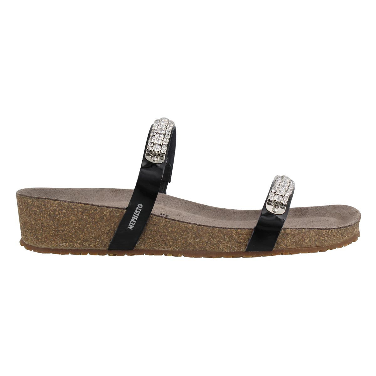Lds Ivana blk wedge cork footbed sandal