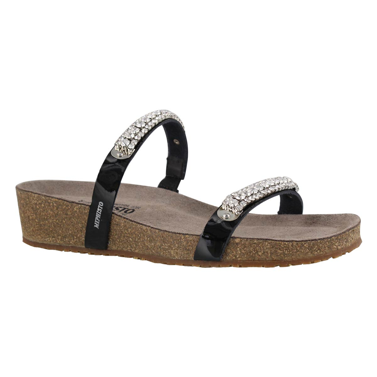 Women's IVANA black wedge cork footbed sandals