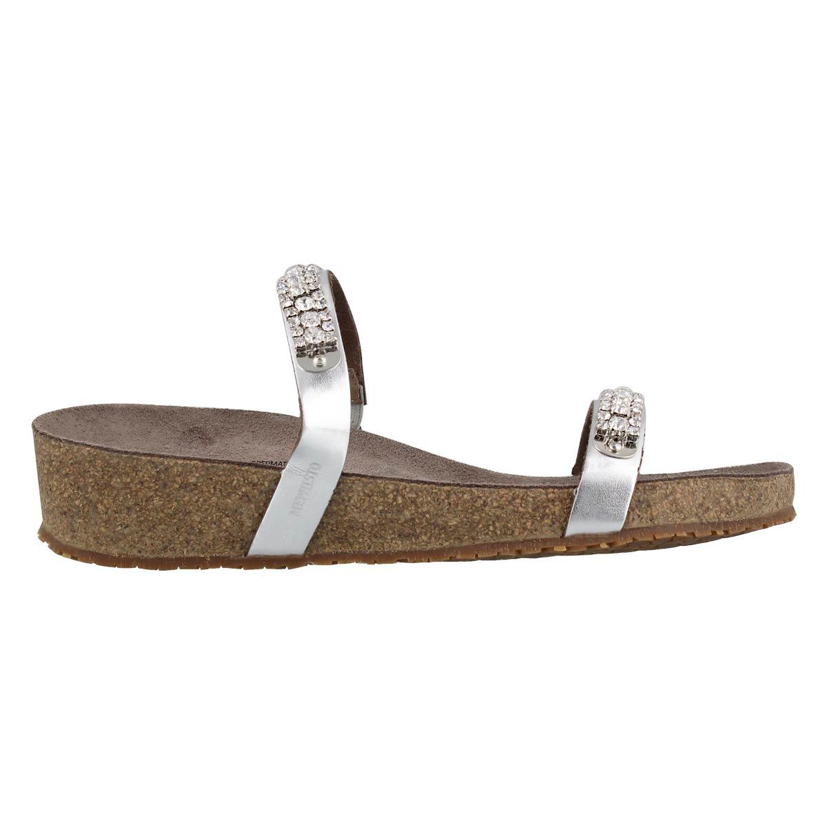 Lds Ivana slvr wedge cork footbed sandal