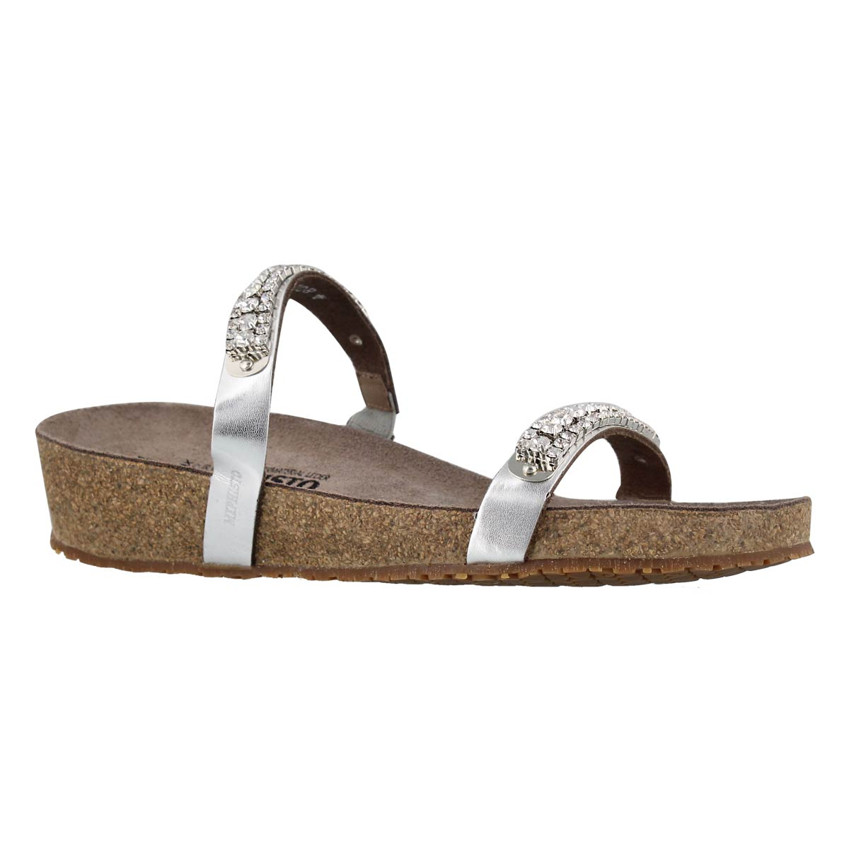 Women's IVANA silver wedge cork footbed sandals