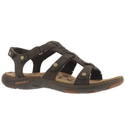 Lds Adhera Three Strap brn casual sandal