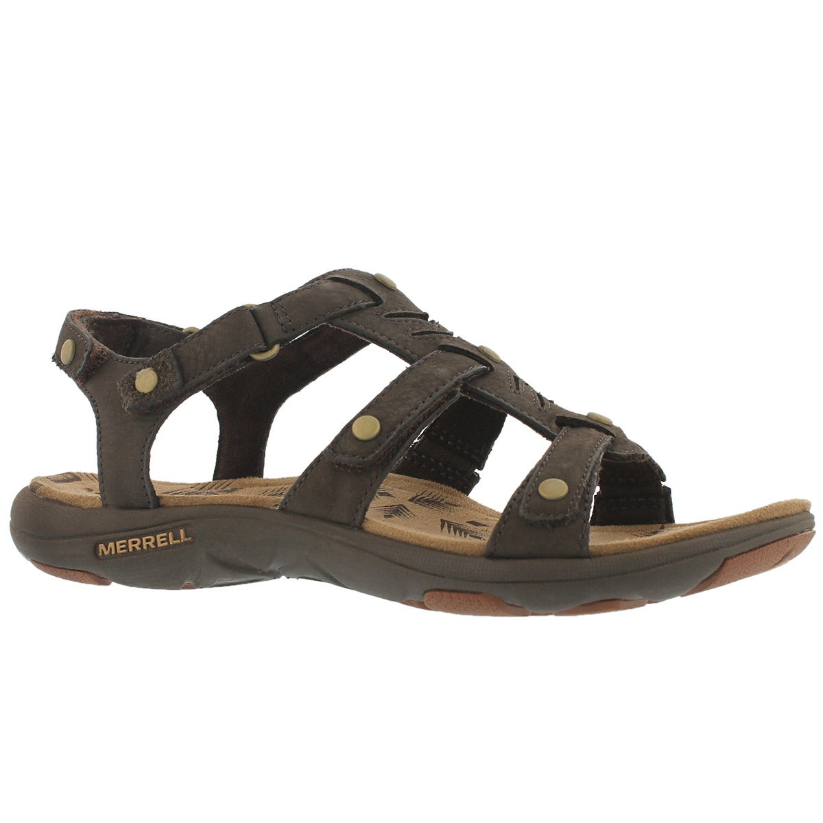 Women's ADHERA THREE STRAP brown casual sandals