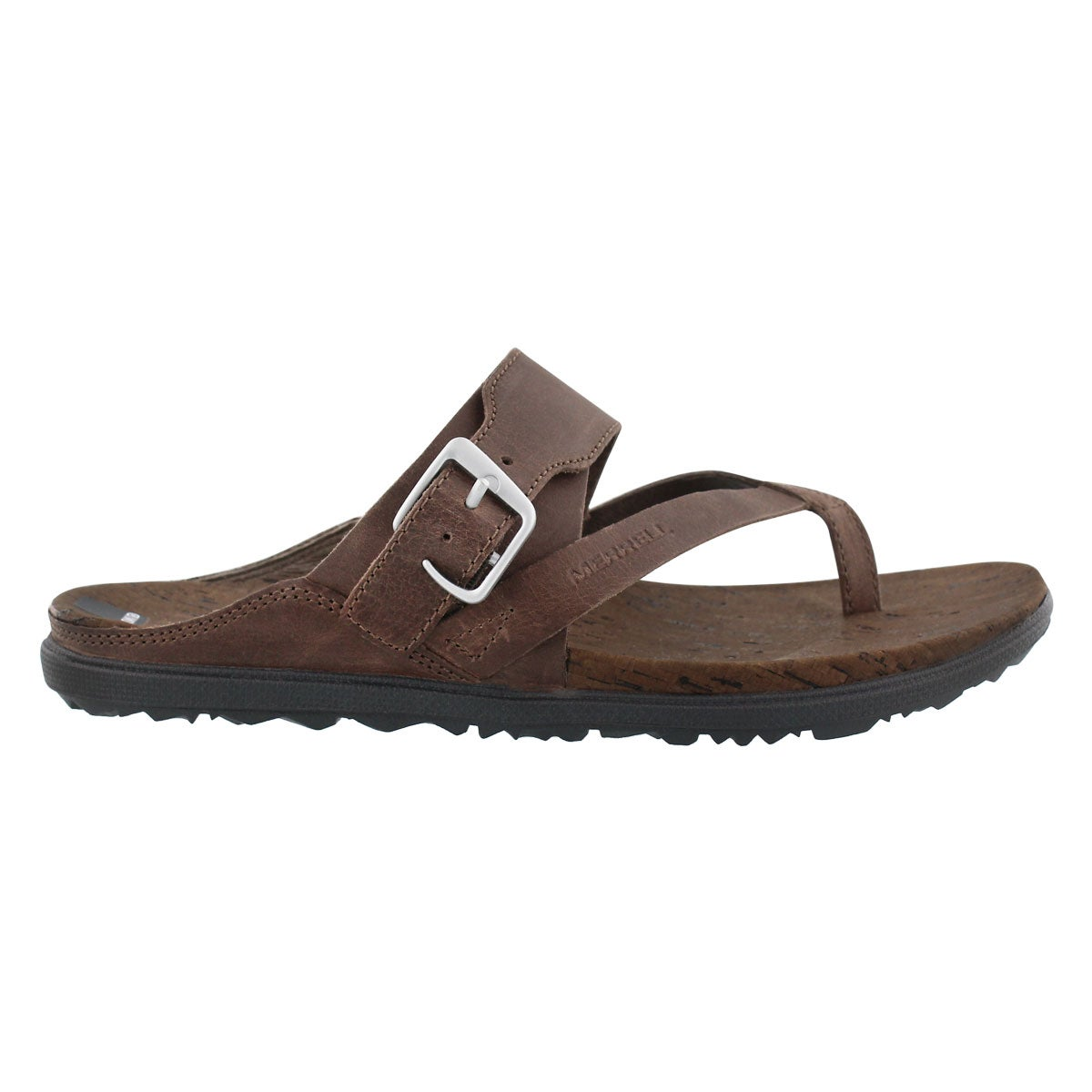 Lds Around Town Buckle brn thong sandal